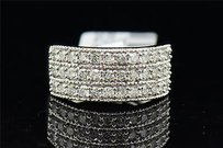 Ladies 10k White Gold 3 Row Round Cut White Diamond Engagement Ring Band .94 Ct.