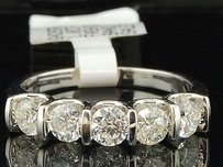 14k Ladies White Gold 5 Round Stones 1 Ct Diamond Engagement Band Wedding Ring
