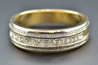 Diamond Wedding Band 14k Two Tone Gold Princess Cut 1.24 Ct Mens Ring