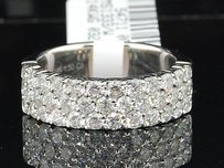14k White Gold Round Cut Diamond 3 Row Wedding Band Anniversary Ring 1.5 Ct.