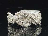 Diamond Wedding Band White Gold Round Cut Swivel Design Anniversary Ring 1.12 Ct