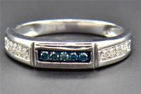 Blue Diamond Wedding Band 14k White Gold Round Cut Mens 5 Stone Ring 0.26 Ct