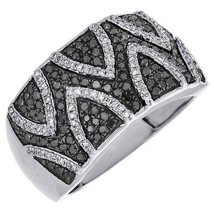 Black Diamond Cocktail Band Sterling Silver W White Gold Finish Ring 0.65 Ct.