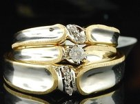 10k Mens Ladies Yellow Gold Diamond Engagement Ring Wedding Band Trio Bridal Set