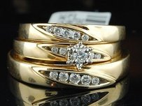 Diamond Engagement Wedding Ring 10k Yellow Gold Round Matching Trio Set 14 Tcw.