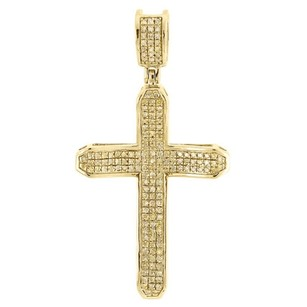 Yellow Diamond Cross Pendant Mens 10k Gold Round Pave Curved Charm 0.40 Ct.