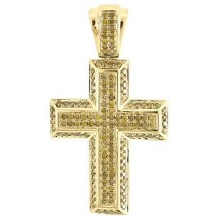 Yellow Diamond Cross Pendant Mens 10k Gold Round Pave Mini Charm 0.60 Tcw.