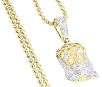 Other Yellow Diamond Crying Jesus Face Pendant 10k Yellow Gold 0.16 Ct Charm W Chain