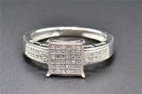 Square Diamond Engagement Ring .925 White Gold Finish Round Cut Pave 0.15 Ct