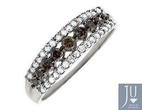 Jewelry Unlimited 10k White Gold Rows Brown And White Genuine Diamond Wedding Ring Band 0.50ct.