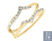 Jewelry Unlimited 14k Yellow Gold Chevron Diamond Ring Guard Jacket Enhancer Wedding Band 0.25ct..