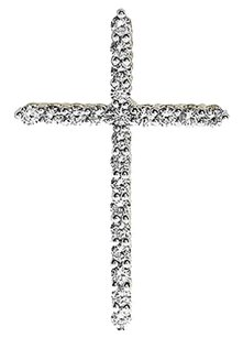 Jewelry Unlimited 14k,Yellow,Gold,Mens,Ladies,Round,Diamond,Prong,1,Inch,Cross,Pendant,Charm,.60ct