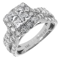 Jewelry Unlimited 14k,White,Gold,Ladies,Xl,Princess,Diamond,Bridal,Wedding,Engagement,Ring,2.65,Ct