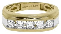 Jewelry Unlimited 14k,Gold,Two,Tone,Mens,Round,Diamond,Channel,Wedding,Anniversary,Band,Ring,1,Ct