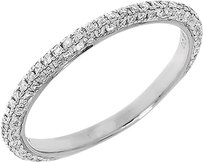 Jewelry Unlimited 14k,White,Gold,Ladies,Pave,Round,Diamond,Eternity,Domed,Wedding,Band,Ring,0.36ct