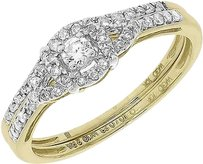 Jewelry Unlimited 10k,Yellow,Gold,Women,Round,Diamond,Solitaire,Halo,Bridal,Wedding,Ring,Set,13ct