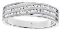 Jewelry Unlimited 10k,White,Gold,Channel,Diagonal,2,Row,Diamond,6mm,Satin,Wedding,Band,Ring,0.25ct