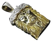 Jewelry Unlimited 10k,Yellow,Gold,Genuine,Canary,Diamond,White,Crown,Jesus,Piece,Pendant,1.50ct