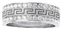 Jewelry Unlimited Mens,14k,White,Gold,Round,Diamond,Edge,Greek,Key,8mm,Wedding,Band,Ring,0.98,Ct