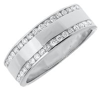 Jewelry Unlimited Mens,14k,White,Gold,Round,Diamond,Edge,Comfort,Fit,7mm,Wedding,Band,Ring,0.48,Ct