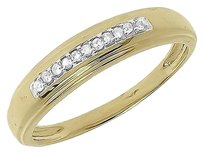 Jewelry Unlimited 10k,Yellow,Gold,Ladies,Genuine,Round,Pave,One,Row,Diamond,4mm,Wedding,Band,Ring