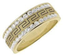 Jewelry Unlimited Mens,14k,Yellow,Gold,Round,Diamond,Edge,Greek,Key,8mm,Wedding,Band,Ring,0.99,Ct