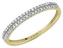 Jewelry Unlimited 10k,Yellow,Gold,Ladies,Round,2,Row,Diamond,Wedding,Fashion,Band,Ring,0.15,Ct