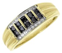 Jewelry Unlimited 10k,Yellow,Gold,Mens,8mm,Vertical,Black,Diamond,Wedding,Fashion,Band,Ring,0.33ct