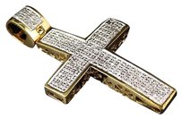 Jewelry Unlimited Genuine,Diamond,Mini,Studded,Pave,Cross,Pendant,In,Yellow,Gold,Finish,0.75ct
