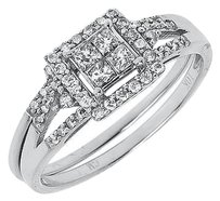 Jewelry Unlimited 10k,White,Gold,Ladies,Princess,Round,Diamond,Engagement,Wedding,Ring,Set,0.50,Ct