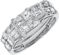 Jewelry Unlimited 10k,White,Gold,Ladies,Princess,Invisible,Diamond,Engagement,Bridal,Ring,Set,2,Ct