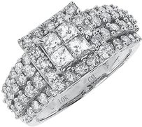 Jewelry Unlimited 10k,White,Gold,Princess,Round,Diamond,Shared,Prong,Engagement,Wedding,Ring,2,Ct