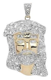 Jewelry Unlimited Yellow,Gold,Finish,Mens,Ladies,Pave,Diamond,1.5,Mini,Jesus,Pendant,Charm,0.75ct