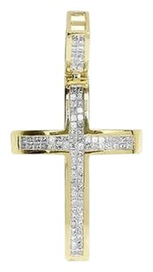 Jewelry Unlimited 14k,Solid,Yellow,Gold,Princess,Invisible,Diamond,1.3,Domes,Cross,Pendant,1,Ct