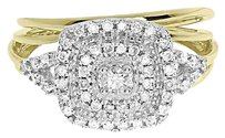 Jewelry Unlimited Ladies,10k,Yellow,Gold,Xl,Round,Diamond,Prong,Engagement,Bridal,Ring,Set,0.33,Ct