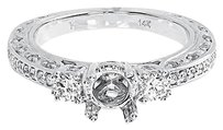 Jewelry Unlimited 14k,White,Gold,3,Stone,Diamond,Semi,Mount,Solitaire,Wedding,Band,Ring,0.81,Ct