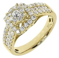 Jewelry Unlimited 14k,Yellow,Gold,Ladies,Round,Cluster,Diamond,Halo,Engagement,Wedding,Ring,1.25ct