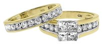Jewelry Unlimited 10k,Yellow,Gold,Ladies,Princess,Diamond,Engagement,Wedding,Bridal,Ring,Set,2,Ct