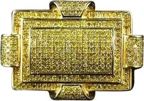 Jewelry Unlimited Sterling,Silver,Canary,Latch,Genuine,Diamond,Pinky,Ring,Yellow,Gold,Finish,.75ct