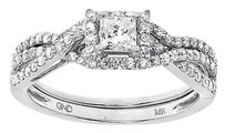 Jewelry Unlimited 14k,White,Gold,Ladies,Princess,Solitaire,Diamond,Bridal,Wedding,Ring,Set,0.66,Ct