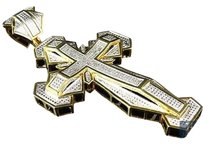 Jewelry Unlimited Genuine,Diamond,Ultimate,Cross,Pendant,Charm,In,Yellow,Gold,Finish,3.0,.75ct