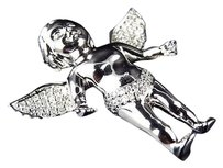 Jewelry Unlimited Solid,10k,White,Gold,3d,Angel,Cherub,Genuine,Diamond,Charm,Pendant,1.25,0.45ct