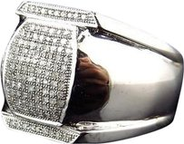 Jewelry Unlimited Men,10k,White,Gold,Round,Cut,Genuine,White,Diamond,Lantern,Style,Ring,25mm,.50ct