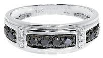 Jewelry Unlimited 10k,White,Gold,Mens,Black,White,Diamond,8mm,Fashion,Wedding,Band,Ring,0.65,Ct