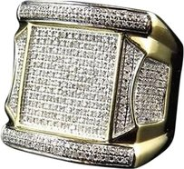 Jewelry Unlimited Men,10k,Yellow,Gold,Round,Cut,Genuine,White,Diamond,Tower,Style,Ring,20mm,1.24ct