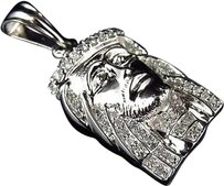 Jewelry Unlimited Mens,10k,White,Gold,Pave,Set,Genuine,Diamond,Jesus,Piece,Charm,1.25,0.35ct