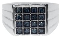 Jewelry Unlimited Mens,White,Gold,Finish,Round,Blue,Diamond,14mm,Square,Fashion,Band,Ring,0.50,Ct