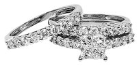 Jewelry Unlimited 14k,White,Gold,Princess,Round,Diamond,3,Pc,Prong,Engagement,Bridal,Ring,Set,2,Ct