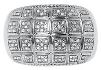 Jewelry Unlimited White,Gold,Finish,Mens,Round,Pave,Diamond,15mm,Domed,Fashion,Band,Ring,0.20,Ct
