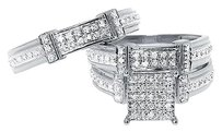 Jewelry Unlimited 10k,White,Gold,Mens,Ladies,Round,Pave,Diamond,Wedding,Trio,Ring,Set,0.50,Ct